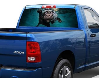 Dog under water Rear Window Decal Sticker Pick-up Truck SUV 2