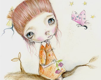 Original painting mixed media on paper..Miko girl''..OOAK