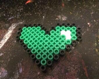Green heart perler