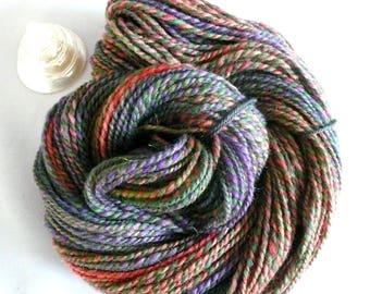 Handspun Yarn Hand Spun Yarn Handspun Worsted Yarn Handspun Merino Yarn Handspun Wool Handspun Fractal Yarn Handspun Purple Weaving Yarn