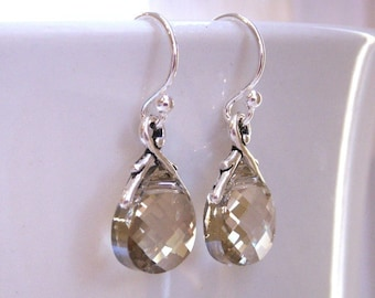Swarovski crystal earrings with antiqued silver or antiqued gold pewter settings, bridesmaid earrings, custom crystal color wedding jewelry