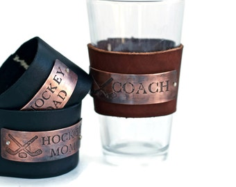 Reusable Leather Pint Glass Sleeve - End of Year Gift for Coach - Gift for Coach - Personalized Gift for Coach - Gift for Coach - Pint Glass
