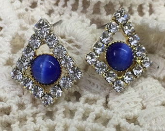 Post Earrings with Blue stone and crystals