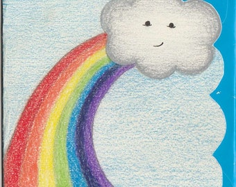 Silver Lining Cloud + Rainbow [ hand drawn card & upcycled envelope ]