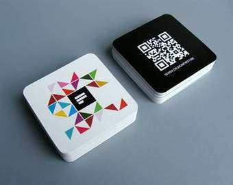 """250 Business Cards - white plastic stock - 20 PT Thick - 2.5""""x2.5"""" square social cards - full color - free rounded corners"""