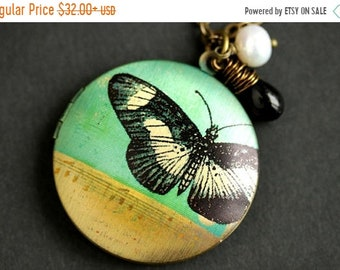 MOTHERS DAY SALE Moth Locket Necklace. Moth Necklace with Black Teardrop and Fresh Water Pearl. Tan and Turquoise Necklace. Bronze Locket. H