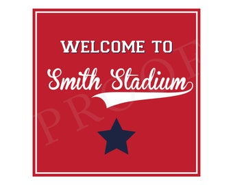 Baseball Welcome Sign (Baseball Birthday, Baseball Party, Baseball Sign, Preppy Baseball, Navy and Red, Personalized Welcome Sign)