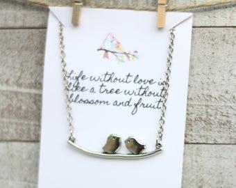 Love Bird Necklace - Two Birds on a Branch - Silver birds