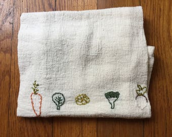 winter veggie embroidered kitchen towel