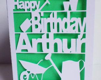 Gardeners Birthday Card, Gardening Greetings Card, Card Cut Out Recycled Birthday Card, Colour insert, Birthday Card, Personalised Card
