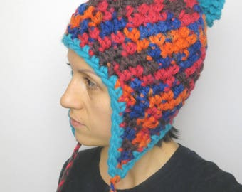 Crochet hat with ear flap, crochet hat, winter hat, multicolor, ladies accessories, ear flap, vegan friendly