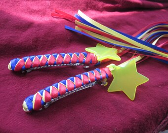 ACADIAN FLAG Braided Ribbon Barrettes Set of 2 / Red Blue Yellow and Star