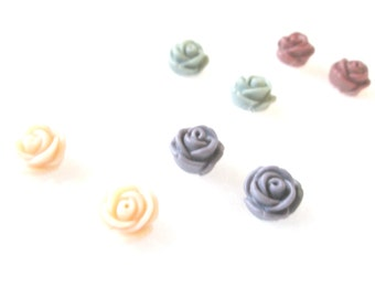 Your CHOICE of Color Soft Rose 11 mm Earrings / Rose Earrings / Pastel Rose Earrings / Fairy Kei Earrings / Pastel Goth Earrings / Rose Gift