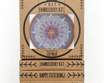 AUTUMN MANDALA embroidery kit - embroidery hoop art, leaf mandala, white on gray, winter vibes, meditative stitching, embroidered mandala