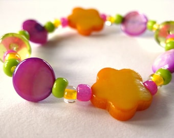 Girls Bracelet, Orange Flowers with Purple and Green, Small, GBS 127