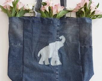 Up-cycled Denim Elephant Tote Bag - Market Bag - beach bag
