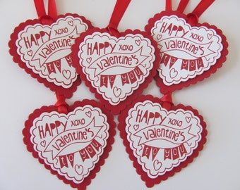 Valentine Tags, Happy Valentines Day to You Tags, Valentine's Day Gift Tags, Valentine Favor Tags, Valentine Gift Tags, Heart Tags, Red