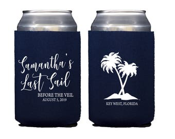 Last Sail Before the Veil Personalized Bridal Shower Beer Can Holder