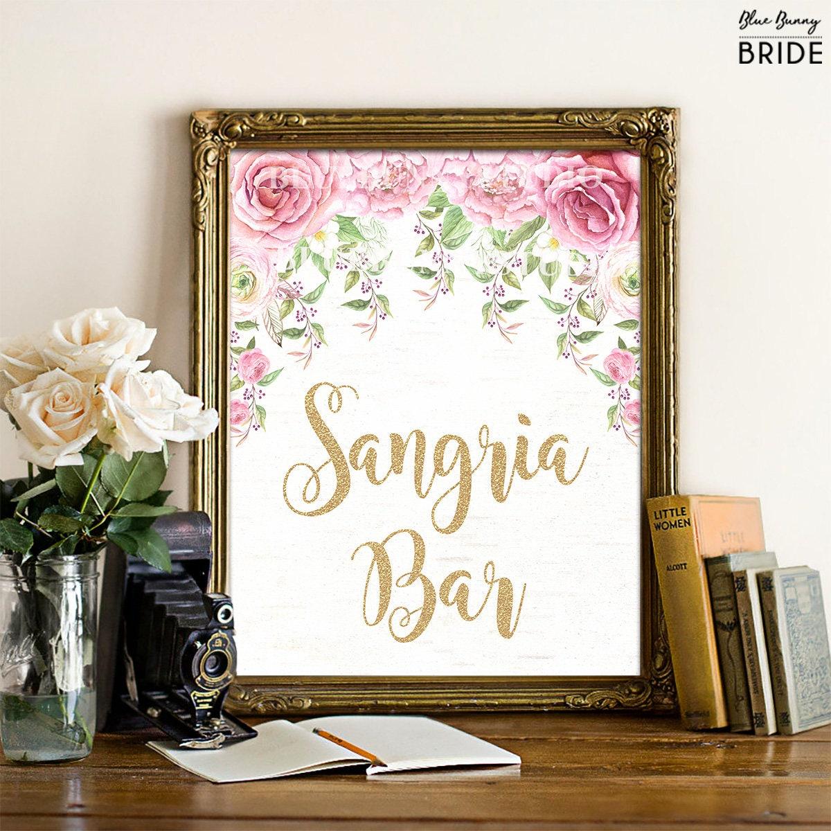 SANGRIA BAR Sign. Pink and Gold Floral Roses Bridal Shower