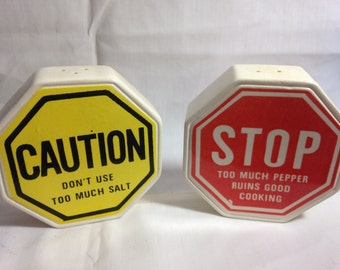 Vintage Salt and Pepper Shaker Set Stop and Caution Signs