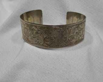 Hand Engraved Scroll Cuff Bracelet