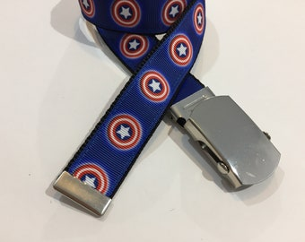 "Captain America Belt in All Sizes with a Military Buckle 1"" Wide"