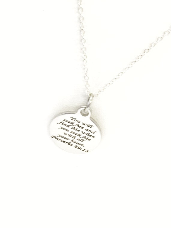 Christian Necklace, You Will Seek Me And Find Me Necklace, Proverbs 29 13 Necklace, Christian Jewelry, Bible Verse Necklace, Scripture Gifts