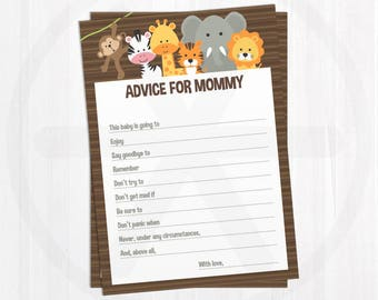 Baby Shower Advice Cards - Advice for Mommy - Safari Baby Shower Games Printable - Activities - Gender Neutral Baby Shower Keepsake