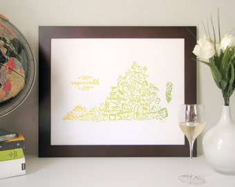 Virginia Wine Map Poster – White Wine Color
