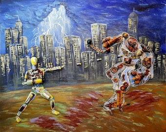 Robot Fight (acrylic painting project)
