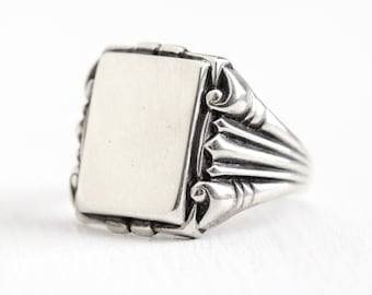 Sterling Silver Signet - Art Deco Blank Statement Ring - 1930s Men's or Women's Size 8 1/2 Geometric Rectangular Repousse 30s Jewelry