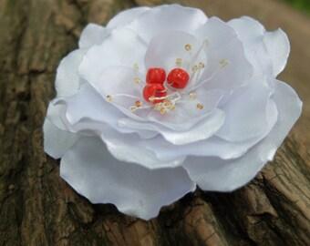 White flower brooch,Fabric flower pin,White Flower Pin,White Red Wedding,Rose Flower Brooch,White Flower Clip,Satin Flower,Bridal Hair Piece