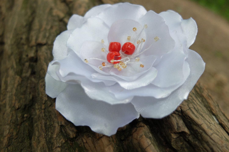 White Flower Broochfabric Flower Pinwhite Flower Pinwhite