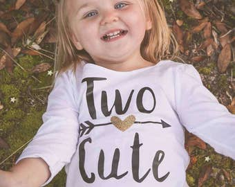 Two Cute Toddler Shirt, Two Year Old Birthday, Two Cute Birthday Shirt, Girls