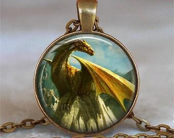 Golden Dragon necklace, Dragon jewelry dragon jewellery gold dragon pendant fantasy art jewelry key chain key ring key fob keyring