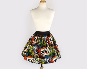 Pinup Hollywood Monsters A-line pleated  Skirt