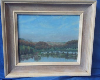 Original Oil Painting Autumn at Frant Lakes