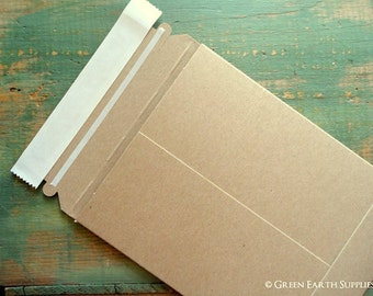 6x8 Recycled Rigid Mailers: 10 kraft stay flat mailers, recycled rigid mailer, eco-friendly & recycled, kraft brown, 6x8 (152 x 203mm)