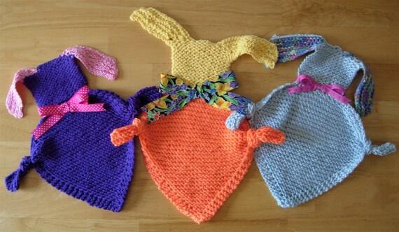 Hand Knit Bunny Baby Blanket Buddy Soft Cuddly Huggable