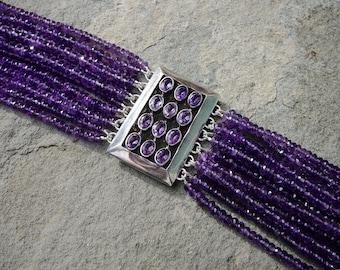 Amethyst Bracelet,Amethyst Jewelry,Repurposed Brooch Bracelet,MCM Jewelry,Multi Strand Amethyst Bracelet,Multi Strand Gemstone Bracelet