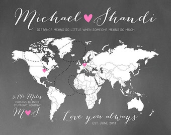 Custom Long Distance Personalized Chalkboard World Map Gift  For Husband Wife Military Deployment Quote, Long Distance Relationships