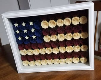 American flag shadow box/Americana/USA paper art/diy/gifts