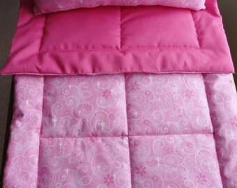 Pink Doll Bedding Set, Pink Glitter Doll Bedding, Doll Pillow, Doll Blanket, Doll Bedding, Pink Doll Bedding, Pink Glitter Doll Crib Bedding