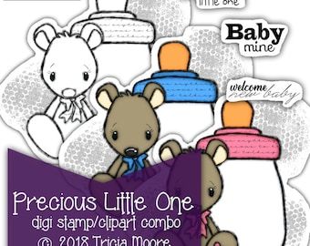 Precious Little One BABY digi stamp digital clipart PRINTABLE color page with bonus sentiments Instant Download