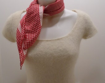 "Vintage Yernnel Scarf 100% silk Red and White 23"" x 23"" Wrap"