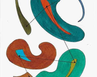 """Original Mid Century Atomic Style Ink and Watercolor Art - Amoeba and Antennae- Turquoise/Brown/Orange/Green  6"""" x 9"""""""
