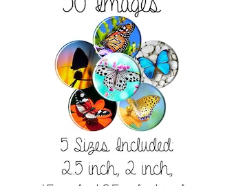 Butterflies Digital Collage Sheet Circles, Bottle Caps, Round Pendants, cup cake toppers, 2.5 inch, 2 inch, 1.5 inch, 1.25 inch ,1 inch