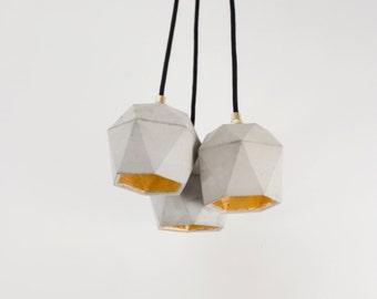 Concrete lamp bundle [T2] lamp set gold triangulated
