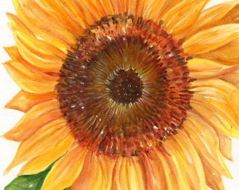Sunflower watercolor painting original, 8 x 10,  sunflower wall art,  flower watercolor, sunflower decor, original sunflower painting