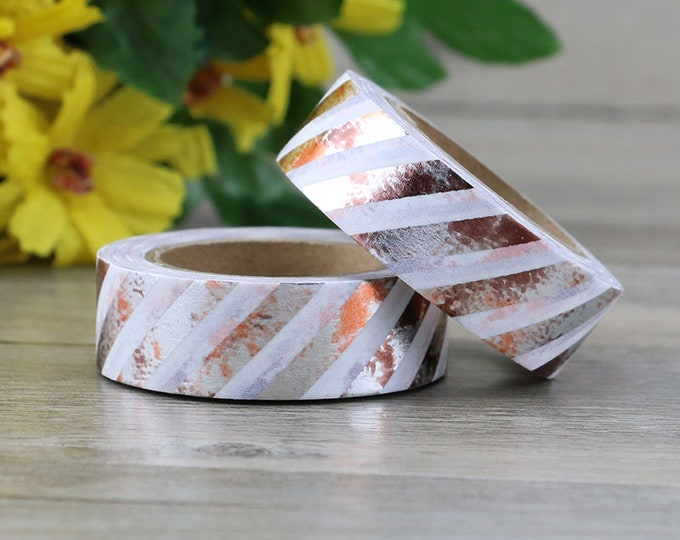 Distressed Rose Gold Foil Washi - Rose Gold Stripe washi Tape -  Nature Washi Tape - Paper Tape - Planner Washi Tape - Washi - Rose Gold